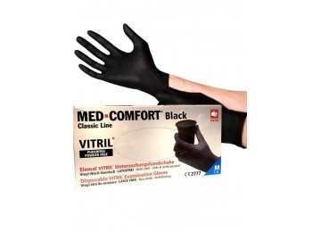 Перчатки витрил MED-COMFORT черные M 100 шт