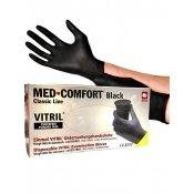 Перчатки витрил MED-COMFORT черные S 100 шт